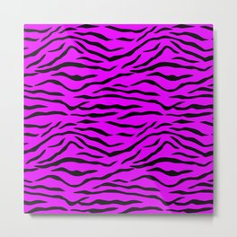 Hot Pink Neon and Black Tiger Stripes Metal Print