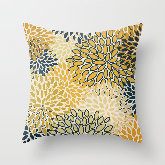 Flower Pattern Abstract Navy Blue And