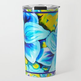 Blue Poppies 3 with Border Travel Mug