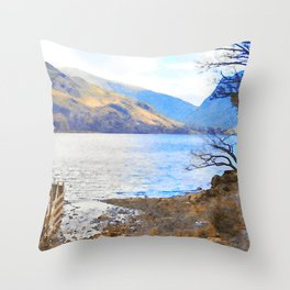 Little Tree at Buttermere, Lake District UK Watercolour Painting Throw Pillow