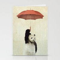 teal Stationery Cards featuring Pandachute by Vin Zzep