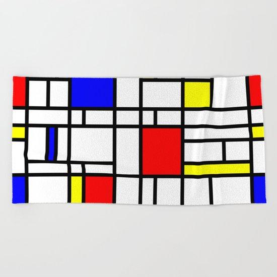 Modern Art Red Yellow Blue Grid Pattern Beach Towel