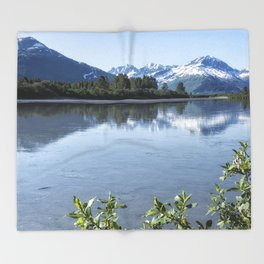 Placer River at the Bend in Turnagain Arm, No. 1 Throw Blanket