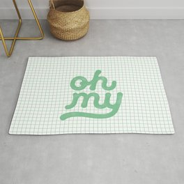 Oh My green and white typography poster design for bedroom wall art home decor Rug