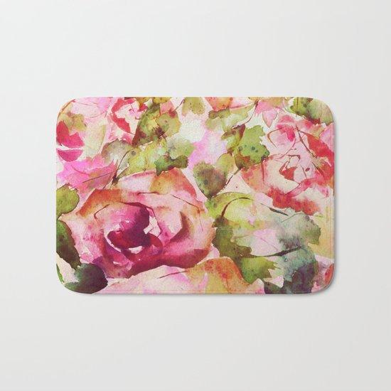 roses abstraites Bath Mat