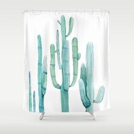 Cacti Fam Turquoise Shower Curtain