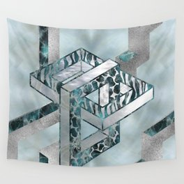 Abstract 3D Geometric Labradorite on Mother of pearl Wall Tapestry