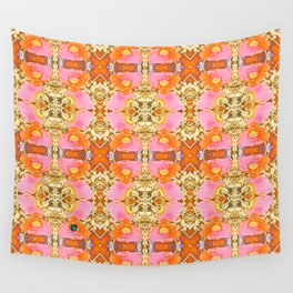 Pink & Orange Poppy 4B Wall Tapestry