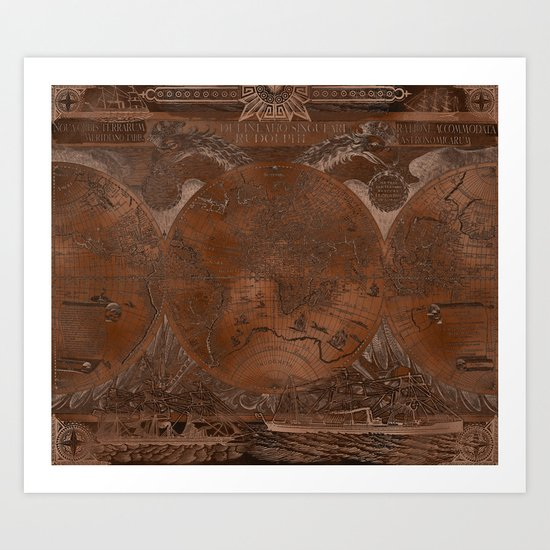 Rose gold and copper antique world map with sail ships by blursbyaishop