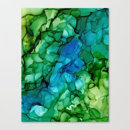 Valley River: Blue and Green Original Abstract Alcohol Ink Painting Canvas Print