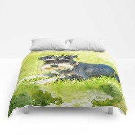 Miniature Schnauzer Watercolor Digital Art Comforters