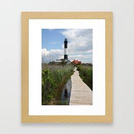 Fire Island Light With Reflection - Long Island Framed Art Print