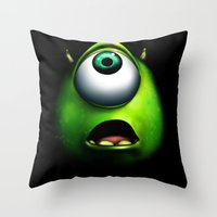 mike wrobel Throw Pillows featuring mike wazowski by Dan Solo Galleries