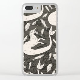 Unicorn Mermaid battle at Sea Clear iPhone Case