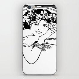 Line Drawing of Irish Woman Holding Shamrocks iPhone Skin
