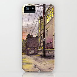 Industrial alley at the sunset iPhone Case