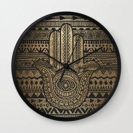 Native Pattern Golden Hamsa Hand Wall Clock