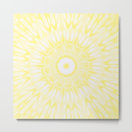 Lemon Yellow Kaleidoscope Metal Print