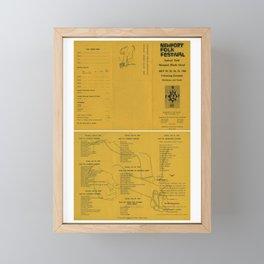 1965 Bob Dylan - Newport Folk Festival Program Concert Poster Framed Mini Art Print