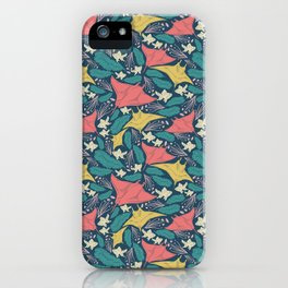 Manta Ray And Fish Pattern iPhone Case