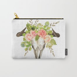 Bohemian bull skull and antlers with flowers Carry-All Pouch