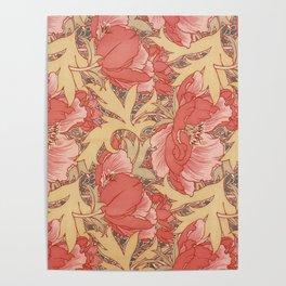 William Morris Poppies Floral Art Nouveau Pattern Poster
