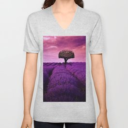Pink Sunset in Fields of Lavender portrait Unisex V-Neck