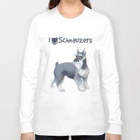 schnauzer Long Sleeve T-shirts featuring Schnauzer by Bark Point Studio