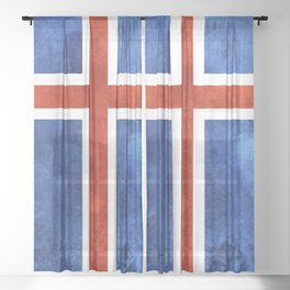 Icelandic Flag Sheer Curtain