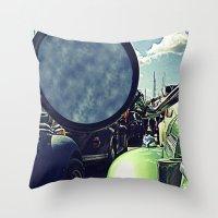 volkswagen Throw Pillows featuring volkswagen turtle car by gzm_guvenc