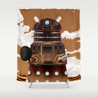 dalek Shower Curtains featuring To Victory! vintage science fiction poster. by Nick's Emporium