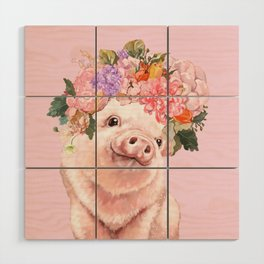 Baby Pig with Flowers Crown Wood Wall Art