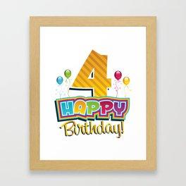 Kids Happy 4th Birthday Kids Bday Party Framed Art Print