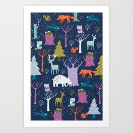 winter woodland animals Kunstdrucke