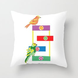 Birds in the playground Throw Pillow