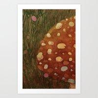 mushroom Art Prints featuring mushroom by rysunki-malunki