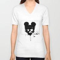horror V-neck T-shirts featuring Horror Mickey by Renars