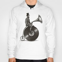 mustache Hoodies featuring Music Man by Eric Fan