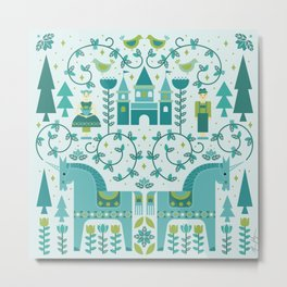 Fairytale Illustration in Blue Metal Print
