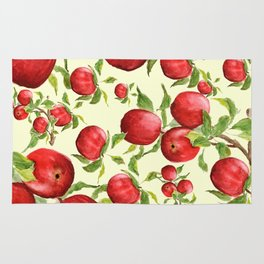 red apple in yellow background Rug