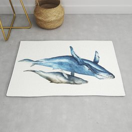 Humpback Whales Mother and Calf  Rug