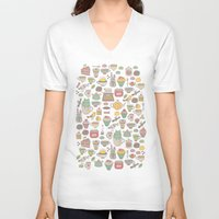 macaroon V-neck T-shirts featuring Tea time by Anna Alekseeva kostolom3000