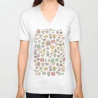 macaroon V-neck T-shirts featuring Tea time by Anna Alekseeva kostolom3000