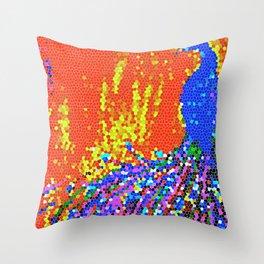 Peacock Glory Abstract Throw Pillow