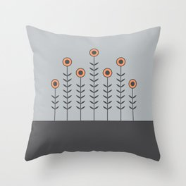 Spring Shoots (Charcoal Black, Dove Grey, Peach Rose) Throw Pillow