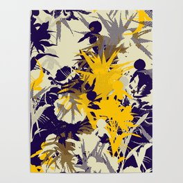 tropical silhouette with orchids and palms with yellow Poster