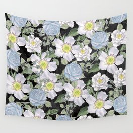 Vintage Rose Pattern Blue On Chalkboard Wall Tapestry