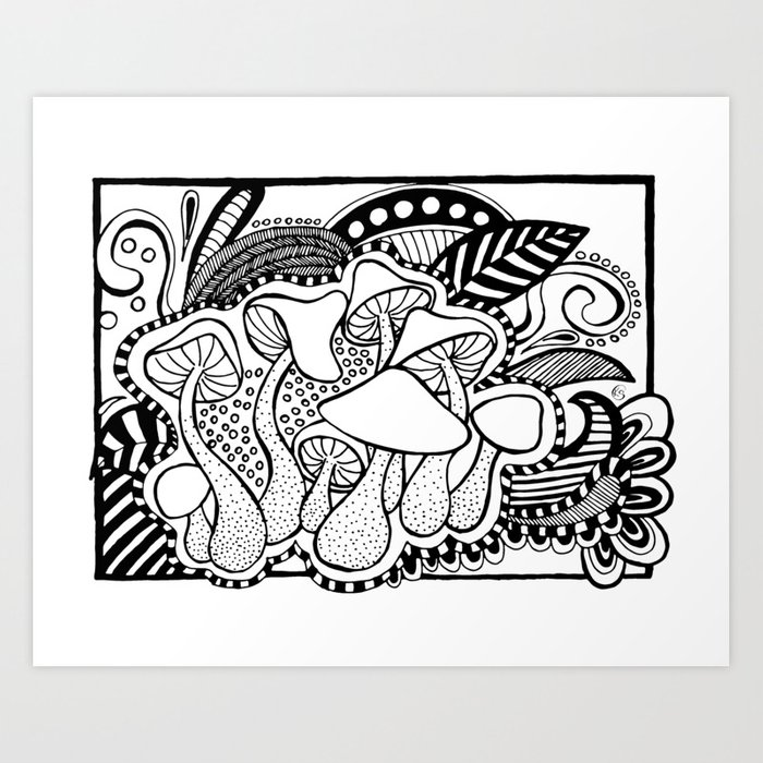 Mushrooms Outline Black And White Drawing Art Print By Kingaszumilas