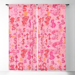 Pink Dollar Signs Blackout Curtain