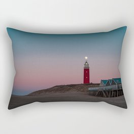 Picture of a full moon above the lighthouse of Texel I | A journey across the Wadden Island of Texel Rectangular Pillow